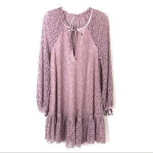 Free People   Purple Lace Jenny Mini Dress